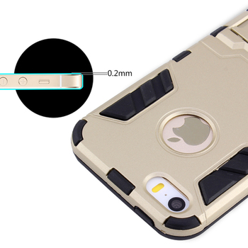 Apple iPhone 5 5S için CAPSSİCUM 5S Armor Case Arka Kapak Shell Darbeye Kickstand tak PC+Silikon Sert Anti SE-